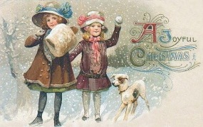 vintage-victorian-two-girls-dog-snow
